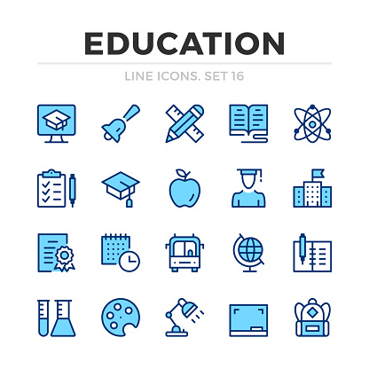Education vector line icons set. Thin line design. Modern outline graphic elements, simple stroke symbols. School icons