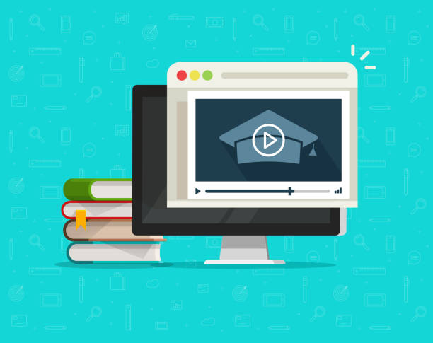 education via online video on computer vector illustration, flat cartoon desktop pc and video webinar courses, concept internet learning, digital distance study, web tutorial clipart - online learning stock illustrations