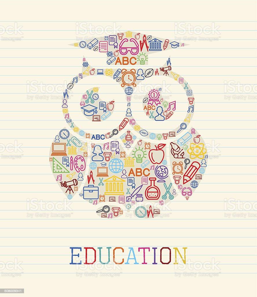 Education wisdom owl concept illustration vector art illustration