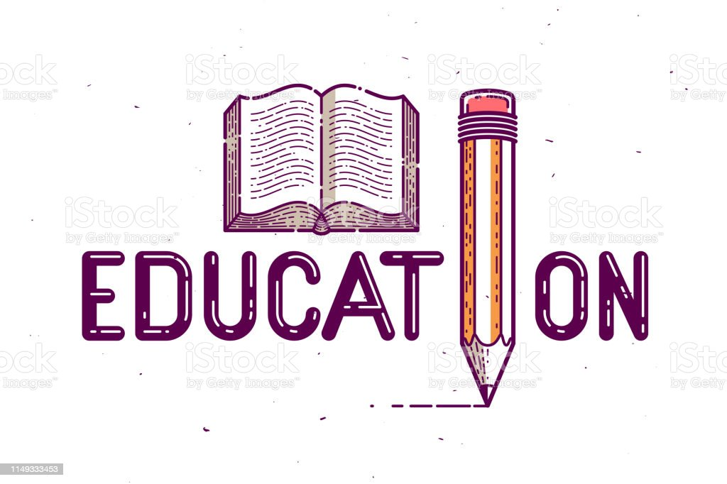 Education Word With Pencil Instead Of Letter I And Book ...