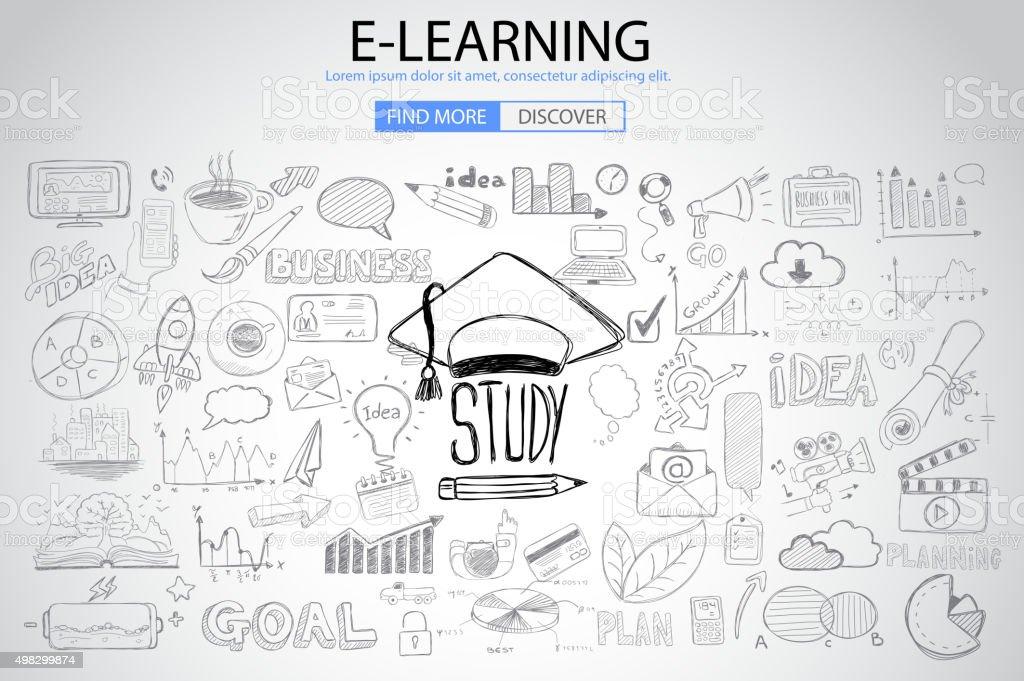教育、学習、落書きデザインスタイルのコンセプト ベクターアートイラスト