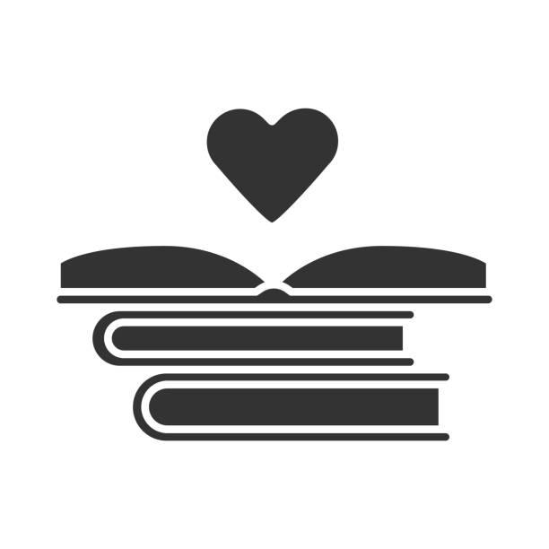 ilustraciones, imágenes clip art, dibujos animados e iconos de stock de icono de glifo de distribución de libros educativos. lector voluntario. donando libros. pila de novelas románticas. me encanta leer. símbolo de silueta. espacio negativo. ilustración aislada vectorial - suministros escolares