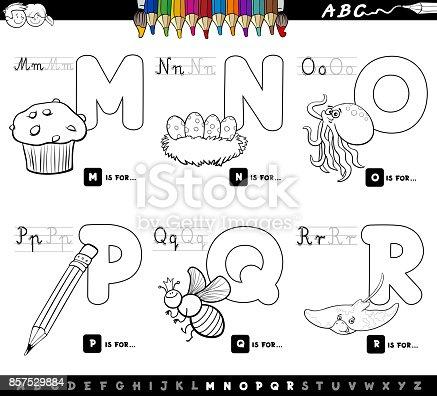 Pädagogische Cartoon Alphabet Buchstaben Farbbuch Vektor ...