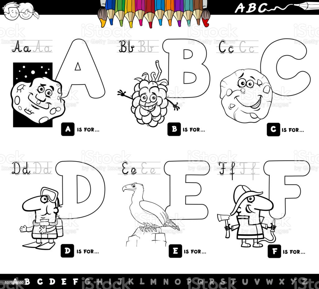 - Educational Cartoon Alphabet Letters Coloring Book Stock Illustration -  Download Image Now - IStock