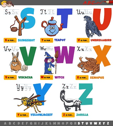 Cartoon illustration of capital letters alphabet educational set for reading and writing practice for elementary age children from S to Z
