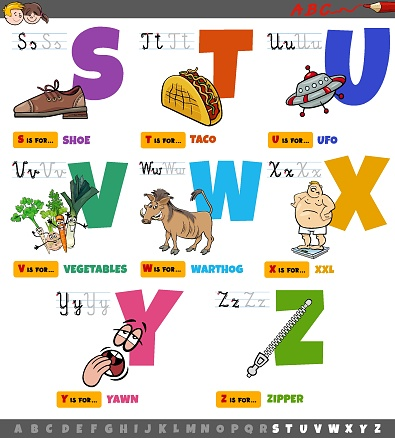 Cartoon illustration of capital letters alphabet educational set for reading and writing practice for elementary age kids from S to Z