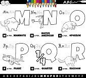 Black and White Cartoon Illustration of Capital Letters Alphabet Educational Set for Reading and Writing Practise for Elementary Age Children from M to R Coloring Book Page