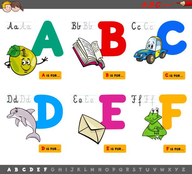 educational cartoon alphabet letters - alphabet clipart stock illustrations