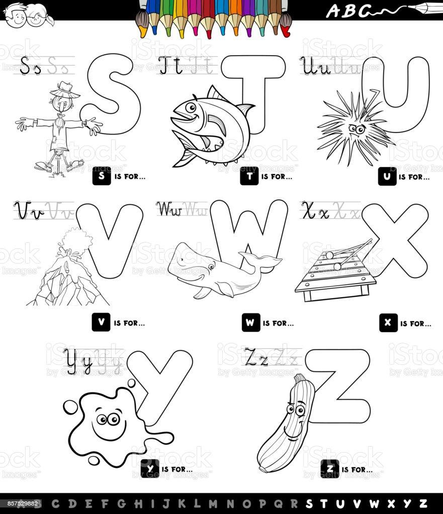 Eğitici çizgi Film Alfabe Boyama Kitabı Ayarla Stok Vektör Sanatı