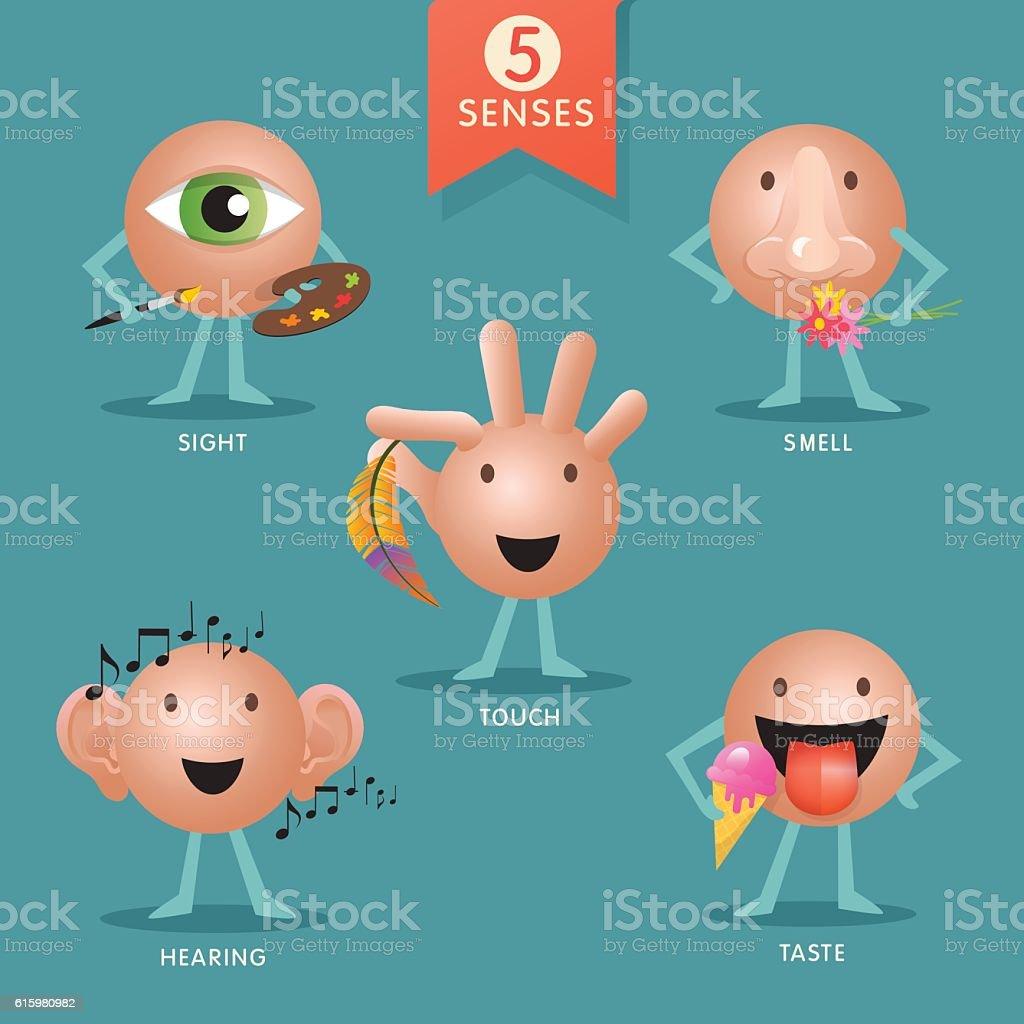 educational cartoon characters representing the five senses vector art illustration