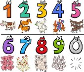 Cartoon Illustration of Educational Numbers Collection from One to Nine with Funny Farm Animal Characters