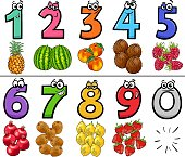 Cartoon Illustration of Educational Numbers Set from One to Nine with Fruits Food Objects