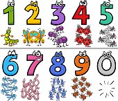 Cartoon Illustration of Educational Numbers Collection from One to Nine with Funny Insects Animal Characters