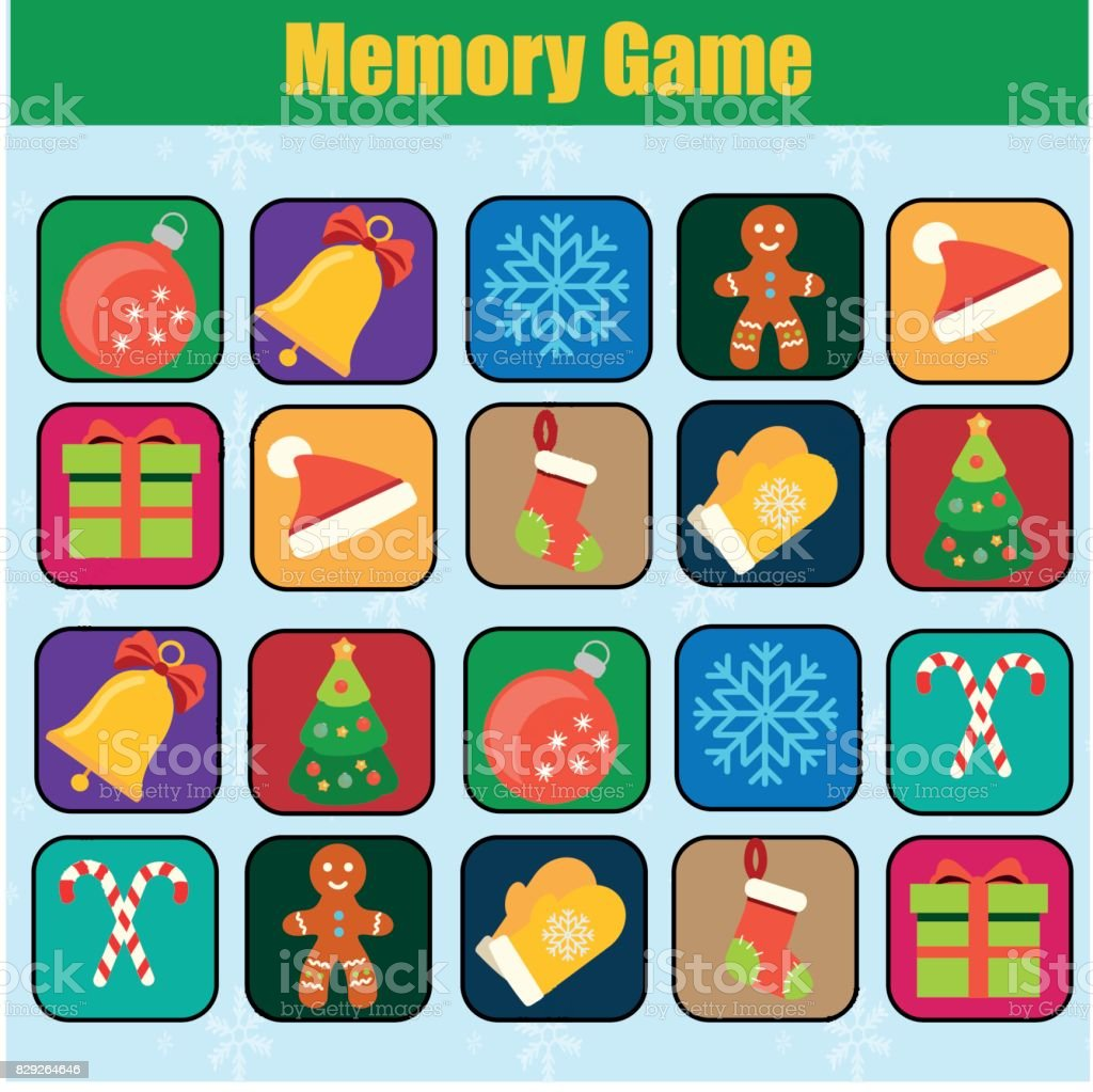 educational children game kids activity memory game christmas new year winter holidays theme. Black Bedroom Furniture Sets. Home Design Ideas