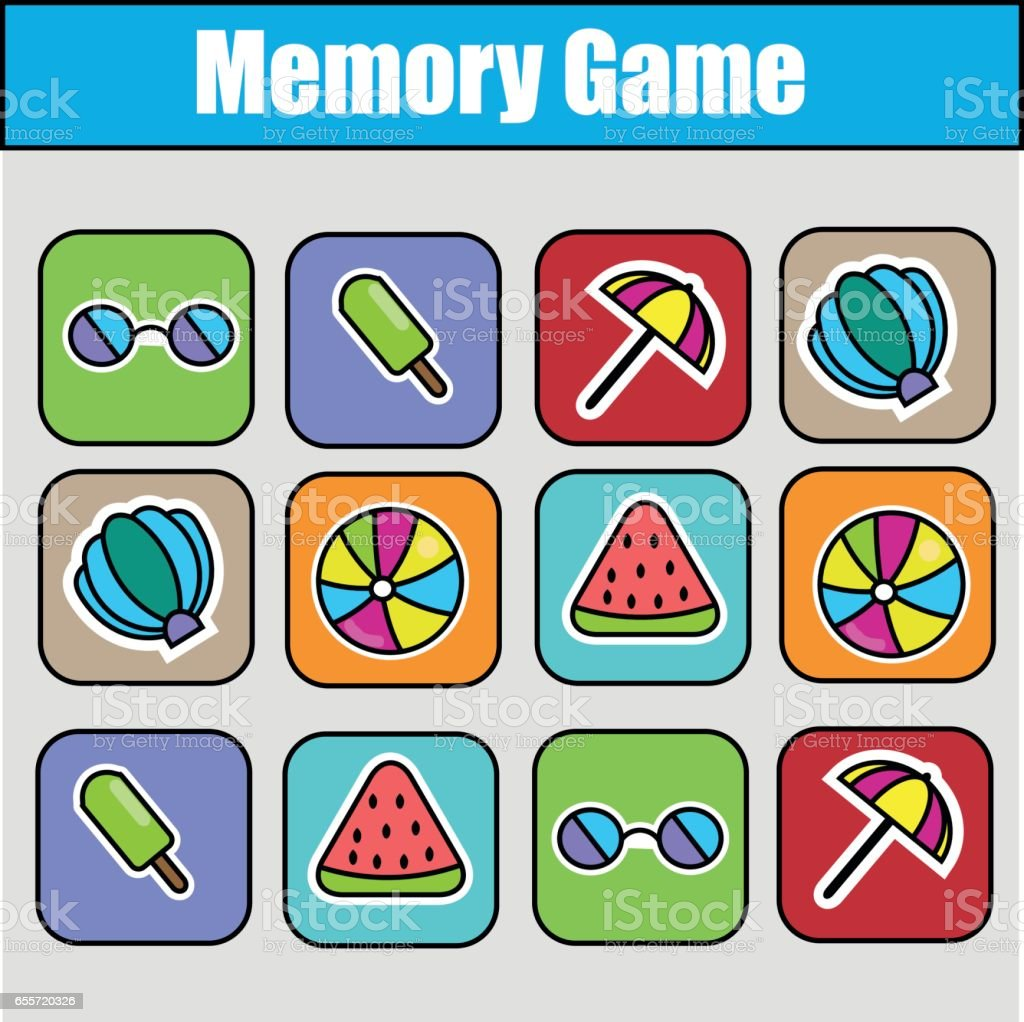 Educational Children Game Kids Activity Memory Game Summer Holidays