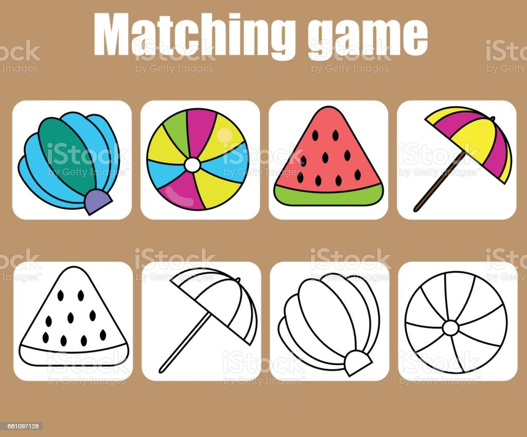 Educational children game. Match colored and outline objects. learning shapes royalty-free educational children game match colored and outline objects learning shapes stock vector art & more images of 2-3 years