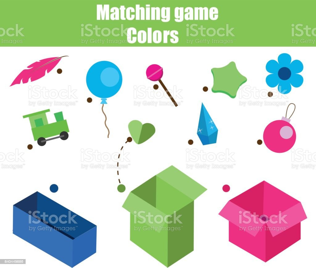 Educational Children Game Matching Game Worksheet For Kids Match By ...