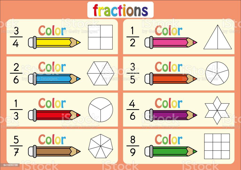 Bildungs Farbe Der Teile Der Form Die Jede Fraktion Mathe ...