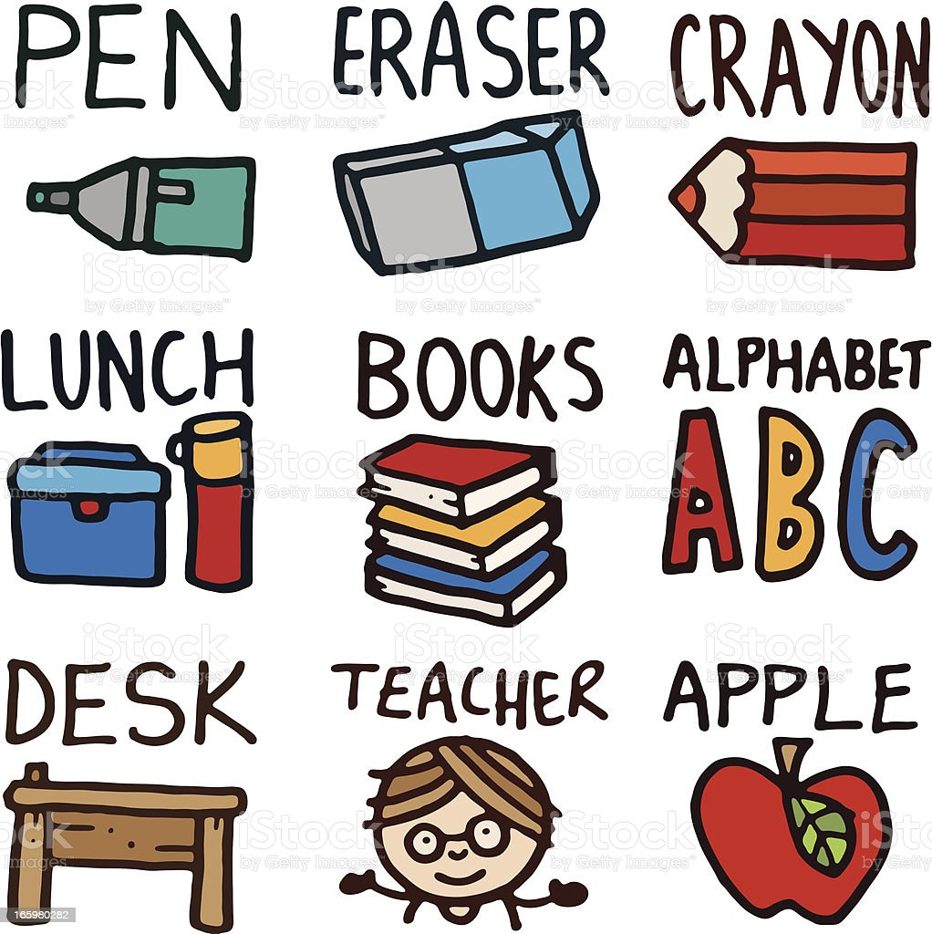 Educational doodle icons with text royalty-free stock vector art