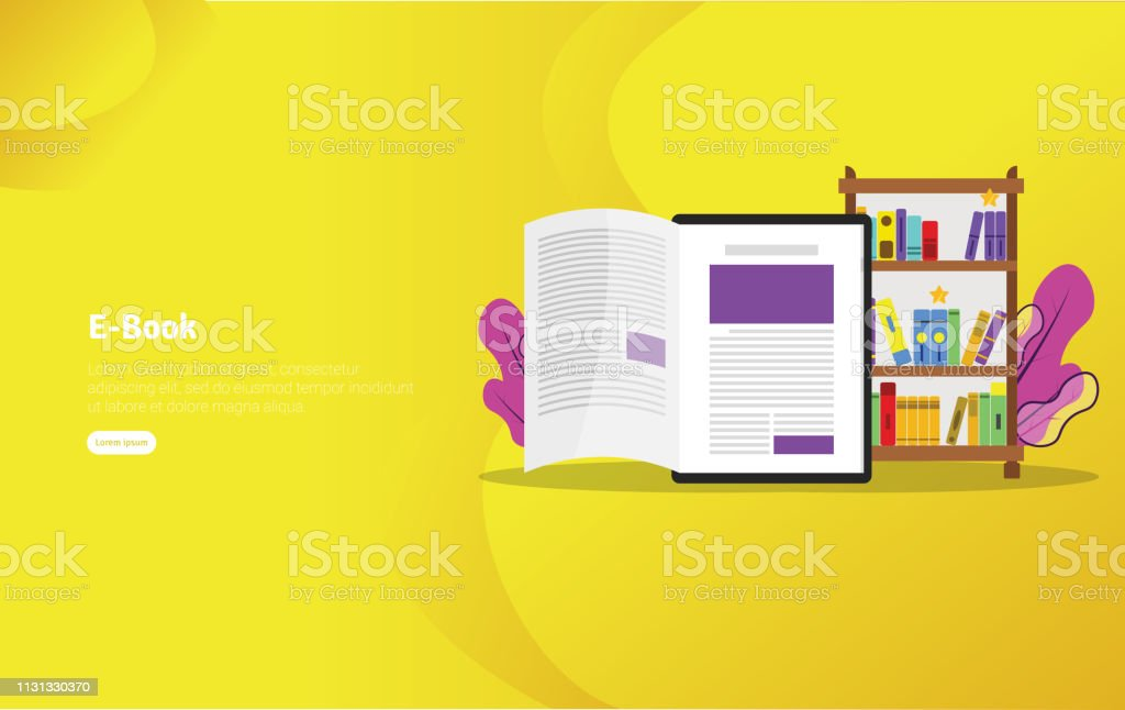 Educational Ebook Concept And Scientific Illustration Banner