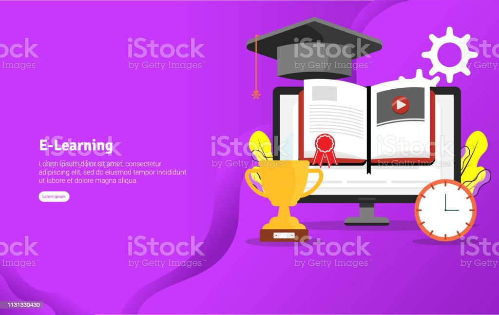 Educational Elearning Concept And Scientific Illustration Banner Suitable For Wallpaper Banner Background Card Book Illustration Or Web Landing Page And Use For Marketing Business Or Promotion Stock Illustration Download Image Now