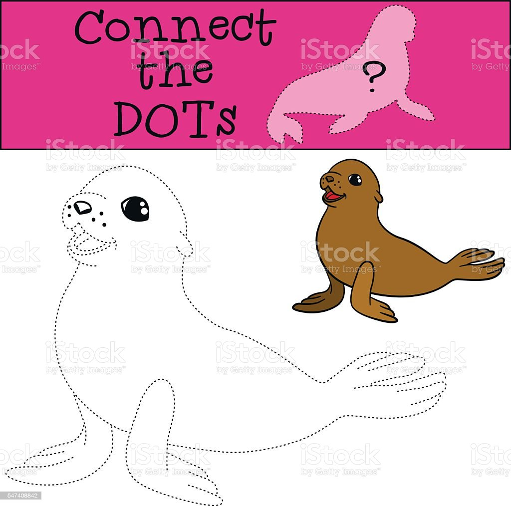 educational game connect the dots little cute baby fur seal stock