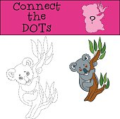 Educational game: Connect the dots. Little cute baby koala.