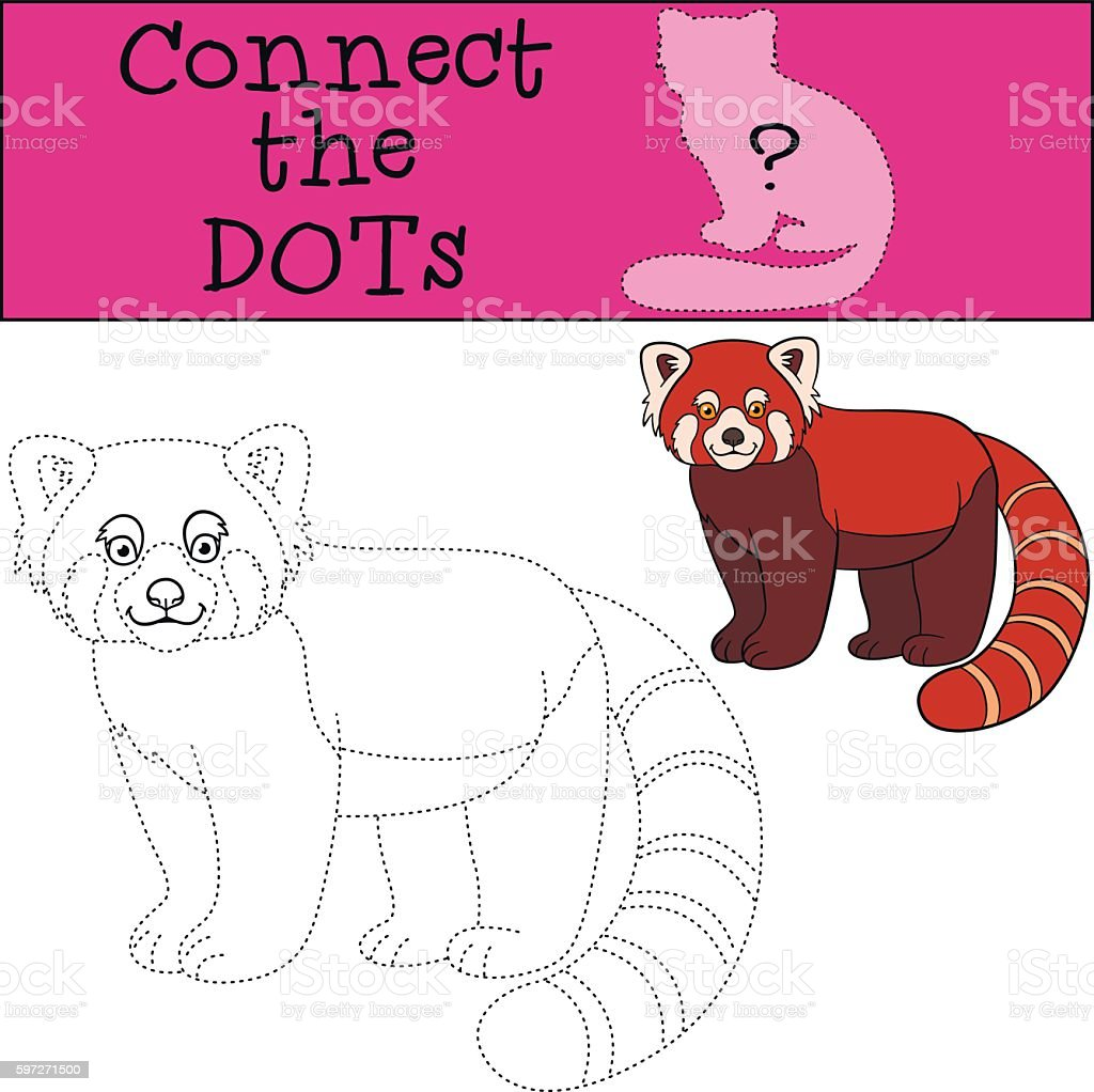 Educational game: Connect the dots. Little cute red panda smiles Lizenzfreies educational game connect the dots little cute red panda smiles stock vektor art und mehr bilder von aktivitäten und sport