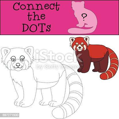 Educational Game Connect The Dots Little Cute Red Panda Smiles Stock Vektor Art und mehr Bilder von Aktivitäten und Sport 597271500