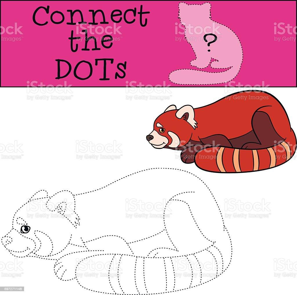 Educational game: Connect the dots. Little cute red panda. Lizenzfreies educational game connect the dots little cute red panda stock vektor art und mehr bilder von aktivitäten und sport
