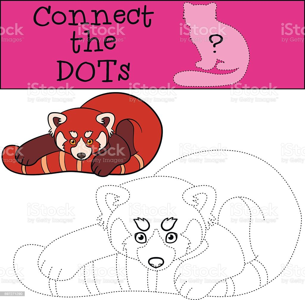 Educational game: Connect the dots. Little cute red panda. educational game connect the dots little cute red panda – cliparts vectoriels et plus d'images de activité libre de droits