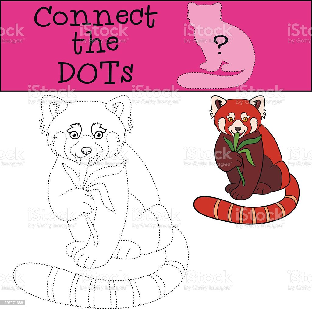 Educational game: Connect the dots. Little cute red panda. royalty-free educational game connect the dots little cute red panda stock vector art & more images of activity