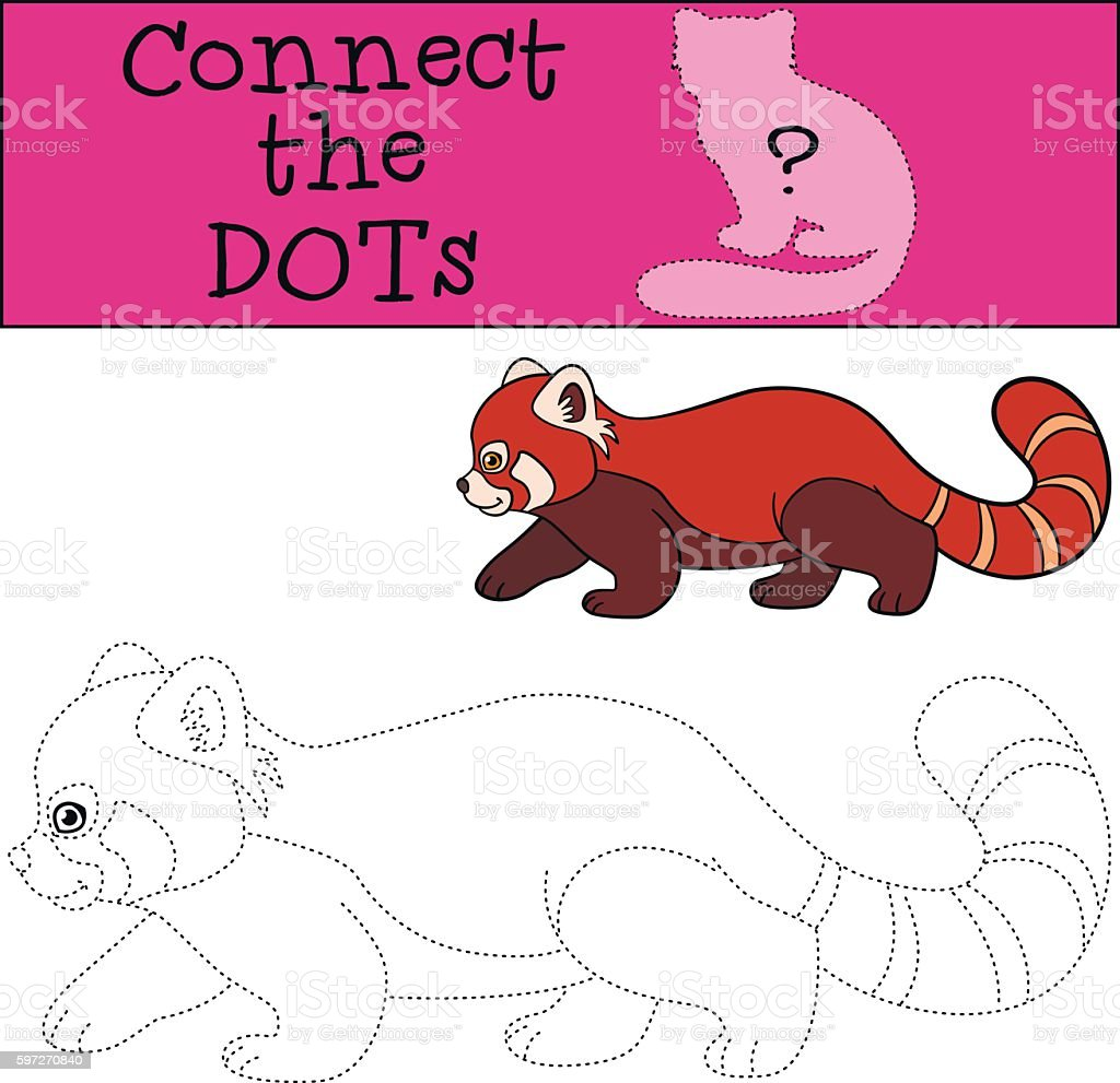 Educational game: Connect the dots. Little cute red panda walks. royalty-free educational game connect the dots little cute red panda walks stock vector art & more images of activity