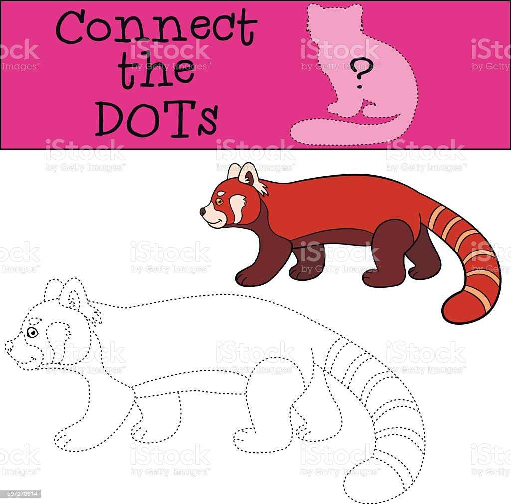 Educational game: Connect the dots. Little cute red panda walks. Lizenzfreies educational game connect the dots little cute red panda walks stock vektor art und mehr bilder von aktivitäten und sport