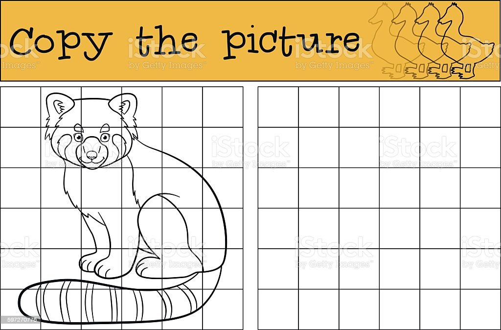 Educational game: Copy the picture. Little cute red panda smiles educational game copy the picture little cute red panda smiles – cliparts vectoriels et plus d'images de activité libre de droits