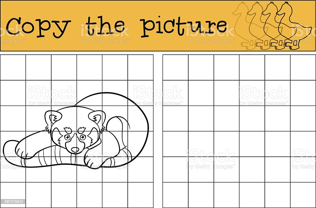 Educational game: Copy the picture. Little cute red panda. royalty-free educational game copy the picture little cute red panda stock vector art & more images of activity