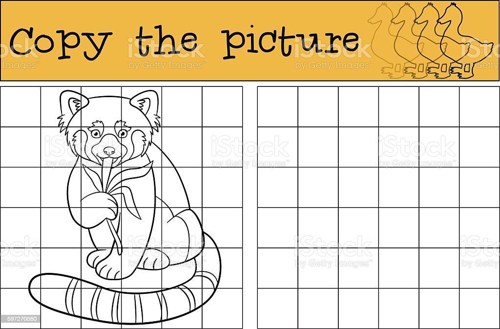 Educational game: Copy the picture. Little cute red panda. Lizenzfreies educational game copy the picture little cute red panda stock vektor art und mehr bilder von aktivitäten und sport