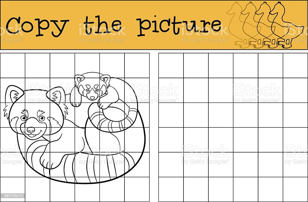 Educational game: Copy the picture. Mother red panda with baby. royalty-free educational game copy the picture mother red panda with baby stock vector art & more images of activity