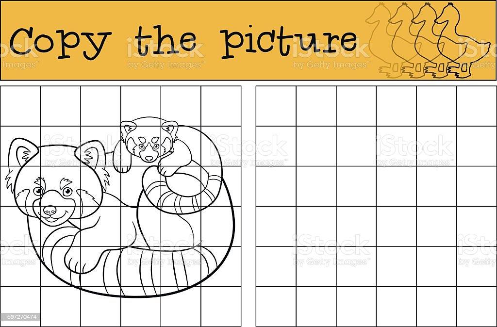 Educational game: Copy the picture. Mother red panda with baby. educational game copy the picture mother red panda with baby – cliparts vectoriels et plus d'images de activité libre de droits