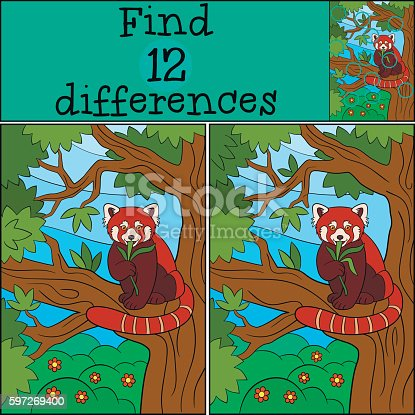 Educational Game Find Differences Little Cute Red Panda Eats Stock Vektor Art und mehr Bilder von Asien 597269400