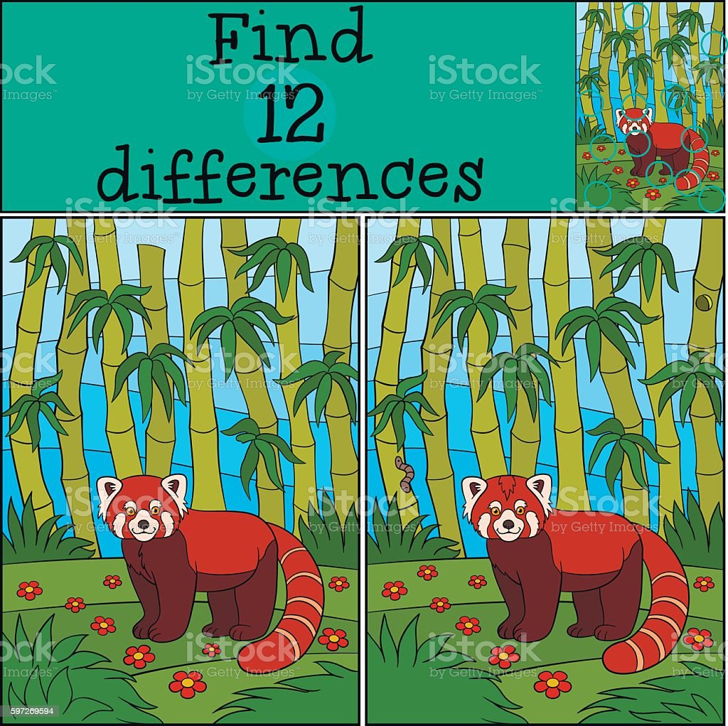 Educational game: Find differences. Little cute red panda smiles royalty-free educational game find differences little cute red panda smiles stock vector art & more images of adversity