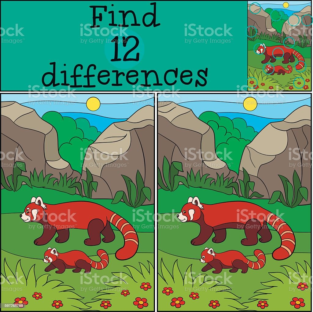 Educational game: Find differences. Mother panda walks with cute Lizenzfreies educational game find differences mother panda walks with cute stock vektor art und mehr bilder von asien