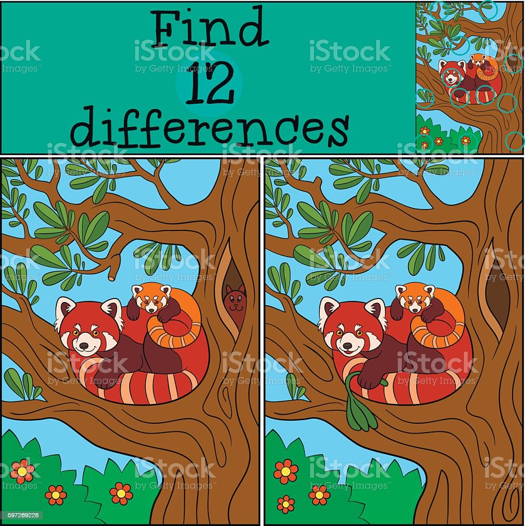 Educational game: Find differences. Mother red panda with her ba Lizenzfreies educational game find differences mother red panda with her ba stock vektor art und mehr bilder von asien