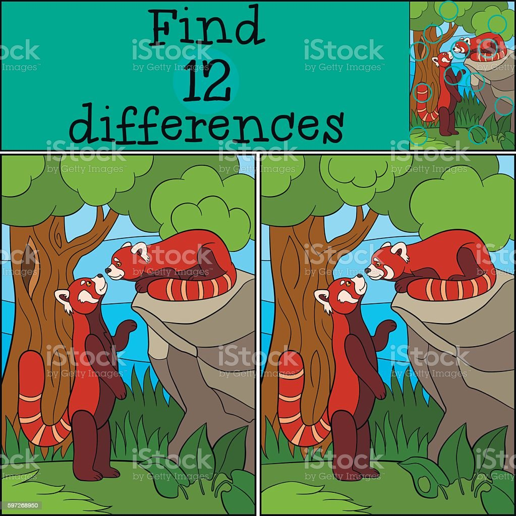 Educational game: Find differences. Two little cute red pandas. royalty-free educational game find differences two little cute red pandas stock vector art & more images of adversity