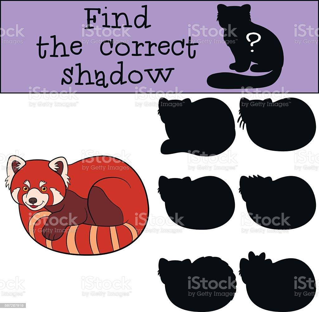 Educational game: Find the correct shadow. Little cute red panda Lizenzfreies educational game find the correct shadow little cute red panda stock vektor art und mehr bilder von aktivitäten und sport