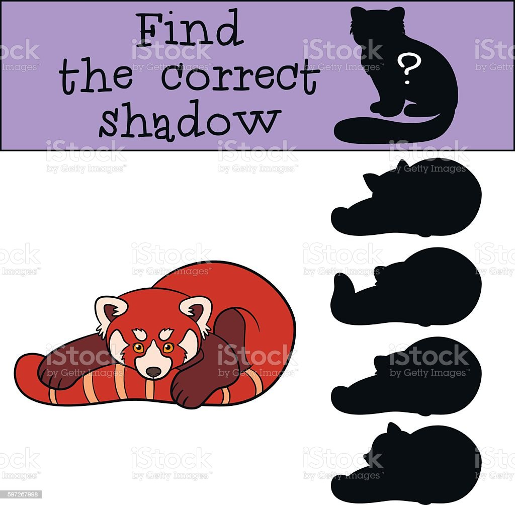 Educational game: Find the correct shadow. Little cute red panda royalty-free educational game find the correct shadow little cute red panda stock vector art & more images of activity