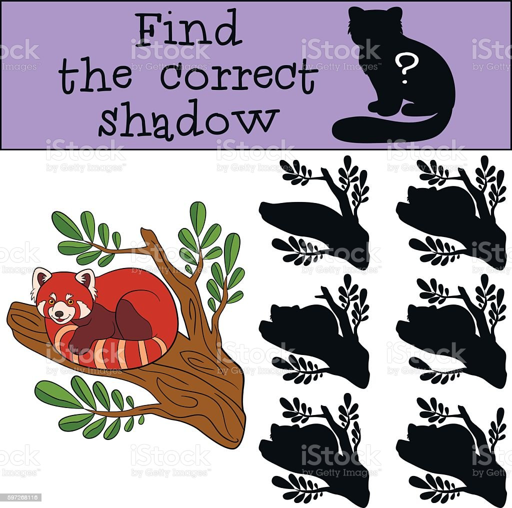 Educational game: Find the correct shadow. Little cute red panda educational game find the correct shadow little cute red panda – cliparts vectoriels et plus d'images de activité libre de droits