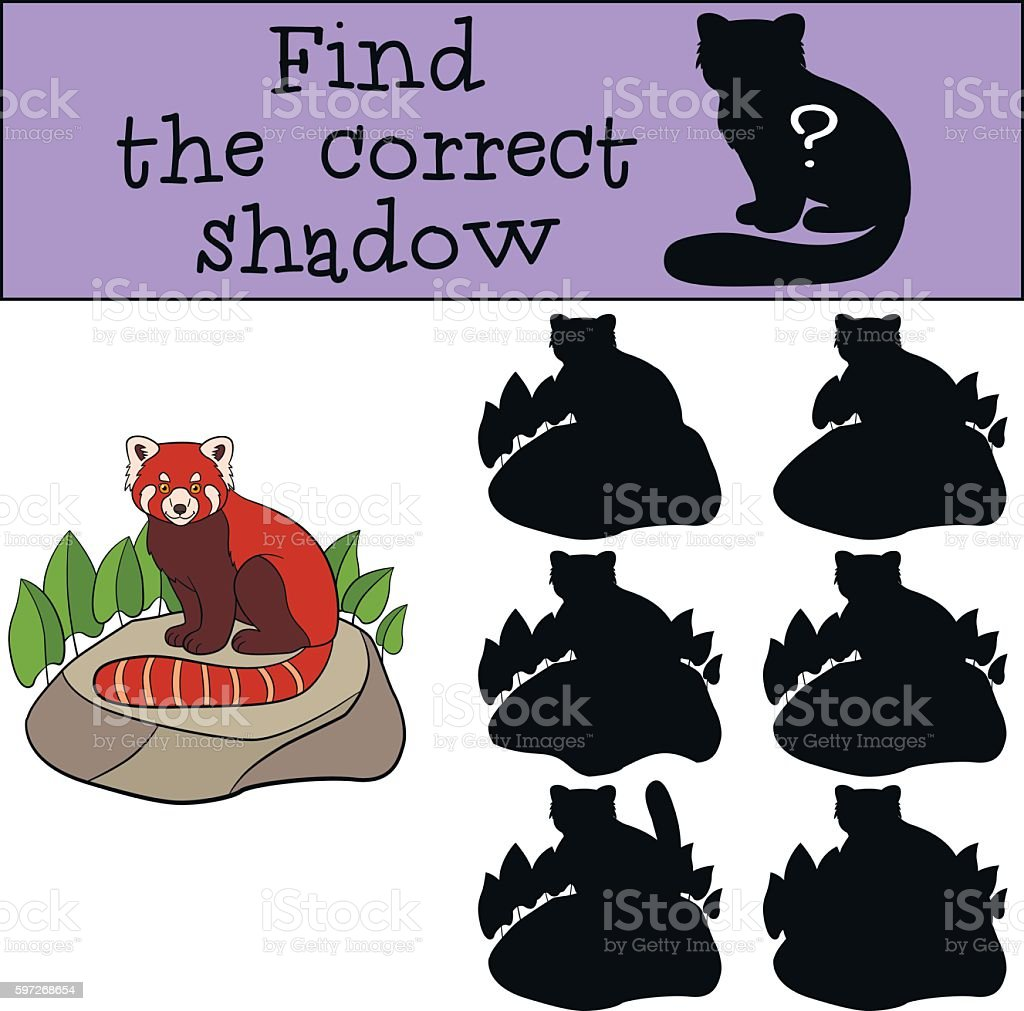 Educational game: Find the correct shadow. Little cute red panda Lizenzfreies educational game find the correct shadow little cute red panda stock vektor art und mehr bilder von aktivitäten und sport