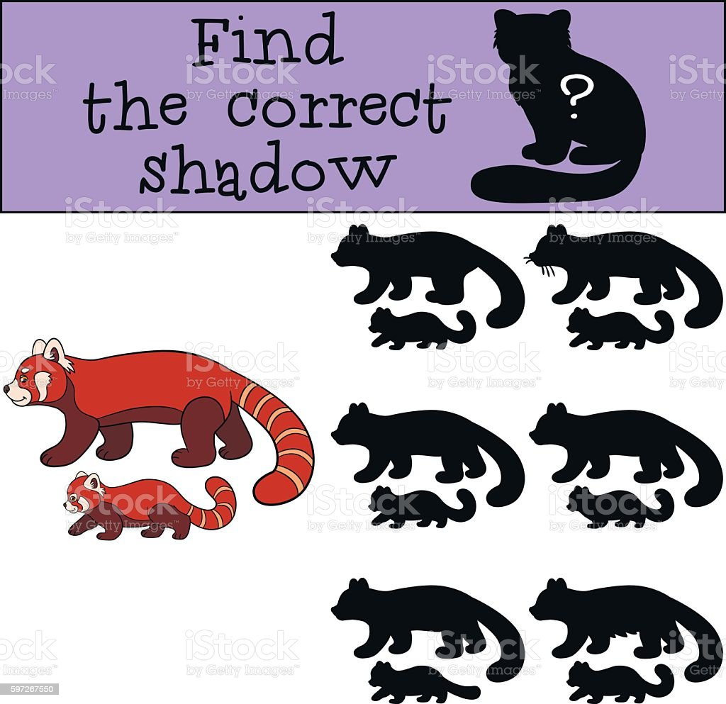 Educational game: Find the correct shadow. Red panda with baby. Lizenzfreies educational game find the correct shadow red panda with baby stock vektor art und mehr bilder von aktivitäten und sport