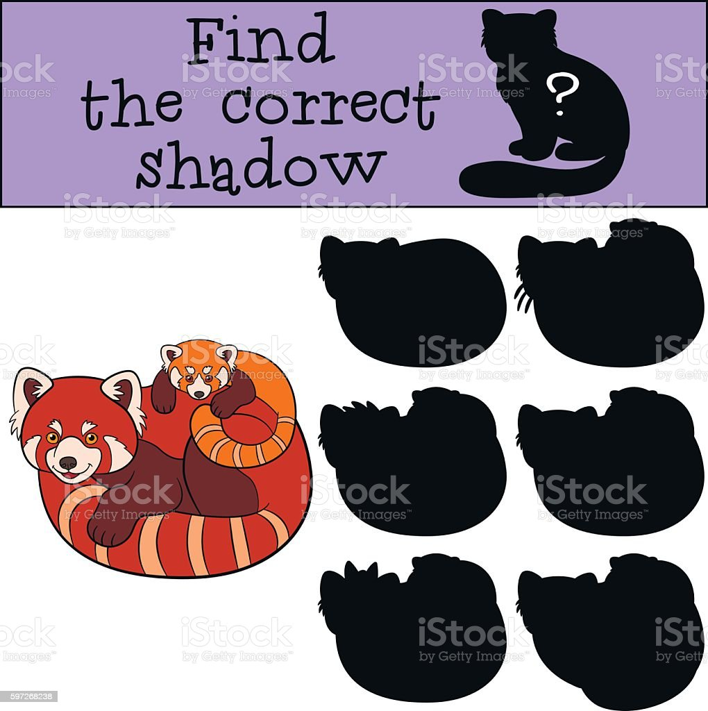 Educational game: Find the correct shadow. Red panda with baby. royalty-free educational game find the correct shadow red panda with baby stock vector art & more images of activity
